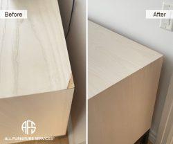furniture table top corner veneer repair fill color grain match blend seal