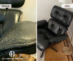 knoll eames chair leather repair re-upholstery change paint dye restore fix