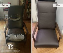 leather chair upholstery padding restoration seat back complete New York NYC