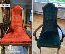 Antique High Back Chair Reupholstery