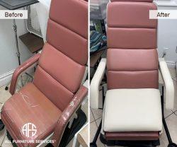 barber recliner chair medical exam dental leather vinyl reupholstery