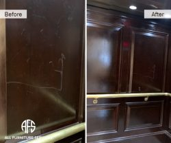 commercial elevator panel wood scratch repair removal refinishing moving damage fix